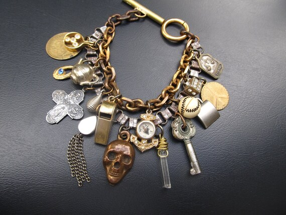 All Hallow's Eve - Creepy Chunky Charm Bracelet with Skeleton Keys, Skull, Compass and Vintage Charms by DanielleRoseBean