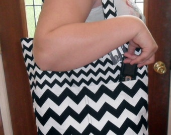 Chevron Black and White Large Tote Bag Purse STUNNING
