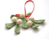 Mistletoe ornament brooch traditional Christmas decor English Winter Weddings decoration green white red mint kiss wool gift home