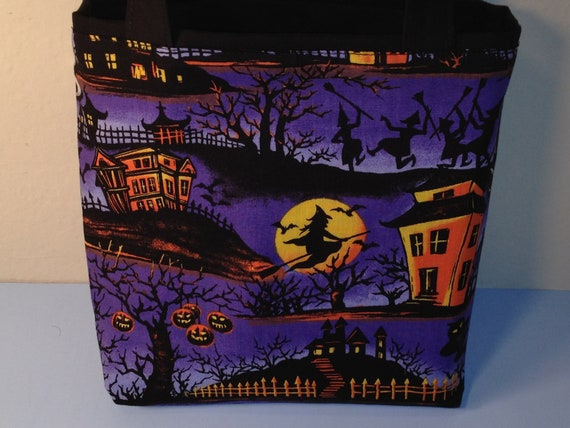 Halloween Scene, Fabric Gift Tote Bag, Gift Wrap, Reusable, Graveyard, Candy Bag, Trick or Treat, Witches