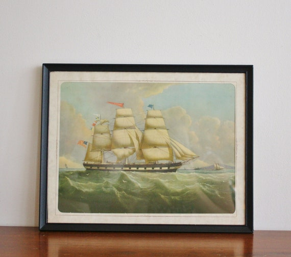 Vintage sailboat framed print, seascape