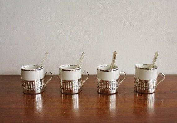 Set of 4 silver plated ceramic espresso cups