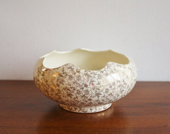 Vintage White And Gold Ceramic Bowl Pioneer Pottery