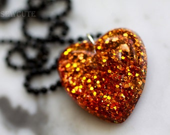 Heart Necklace, Halloween October Jewelry, Glitter Heart Orange Sparkly Resin Heart Shaped Pendant Necklace, Vibrant Pumpkin Sparkles