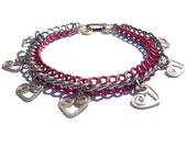 Heart Charm Red and Silver Chainmaille Bracelet