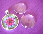30 Clear 1 inch CLEAR GLASS  DOMES Domed Bubbles Cabochon Circles 25mm  flat back Pendant Making