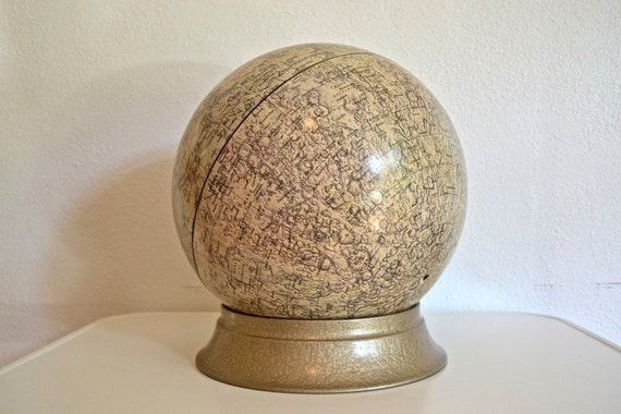 Cram's Lunar Globe with Apollo Moon Landing Sites (1970)