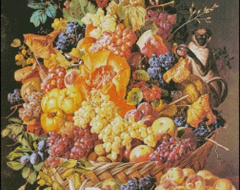 A BASKET Of FRUIT With ANIMALS cross stitch pattern No.708