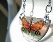 Butterfly necklace, specimen series , creature , lantern fly, orange and green, gifts under 30