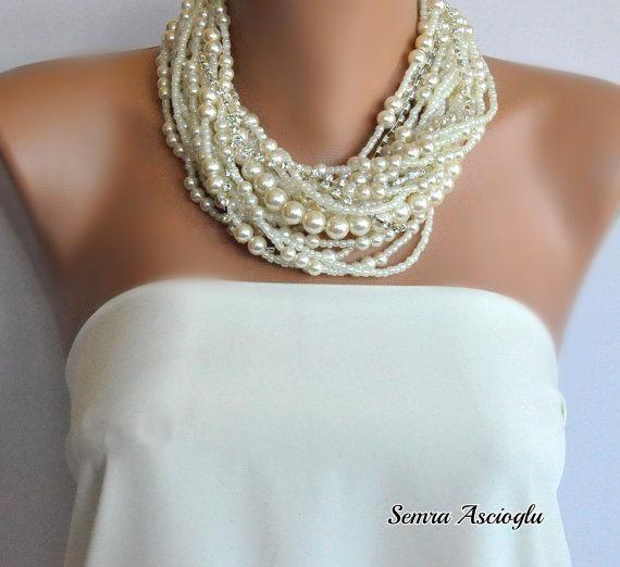 Handmade Chunky Bridal Ivory Necklace