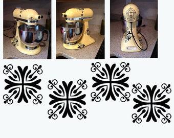 Kitchen Mixer Decal Fancy Flourish set