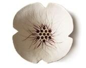 Ceramic bowl Poppy flower bowl in cream pottery Wedding or birthday gift for her under 30 Home decor candle holder sculpture ring holder