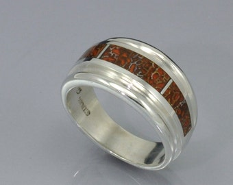 Fossil Dinosaur Bone Inlaid in Sterling Silver Taper Band