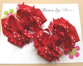 Solid Red Boutique Toddler Hair Bow Set Christmas Holidays Valentines