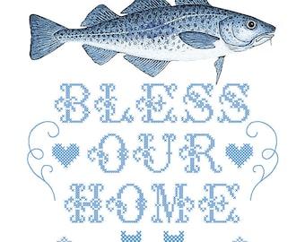 "Cod Bless Our Home 10x8"" giclée print"