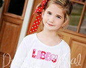 Name Applique Dress Cotton Babydoll dress with monogram 6 12 18 24 2 3 4 5 6 7 8