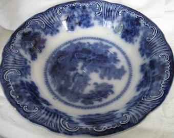 ANTIQUE Flow Blue Bone China Serving Bowl Pottery Fairy Villas