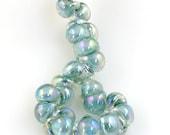 10 Seafoam Bubbles  Luster Teardrop Handmade Lampwork Beads - (2254)