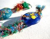 Silk Keyfob with Lampwork Glass Bead
