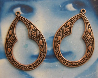 Copper Oxidized Plated Brass Celtic Hoops 2034COP x2