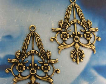 Brass Ox Plated Floral Filigree Earring Drops chandeliers 496BOX x2