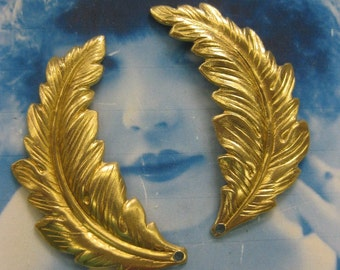 Natural Raw Brass Feather Leaf Stampings 2216RAW x2