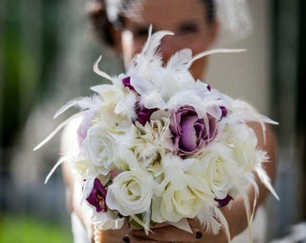 TRUE LOVE  Wedding Bouquet With Feather Accents