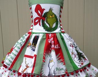 Made to Order Custom Boutique Christmas Grinch Fabric Pom Pom Dress Girl 3 4 5 6 7 8