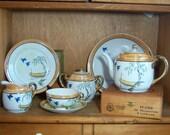 Vintage Scenic Lustreware Dessert  Luncheon Service for 4