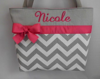 CHEVRON  in Gray .. ..Hot  PINK Accents   ... Monogrammed  FReE