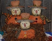 EPATTERN -- Primitive Autumn Fall Orange Shirt Scarecrow Tucks Ornies Bowl Fillers