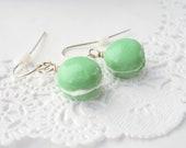 Mini Macaron Earrings in Mint Green