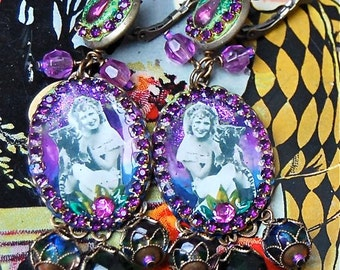 Lilygrace Purple Vintage Circus Cameo Earrings Tiger Girl with Vintage Rhinestones