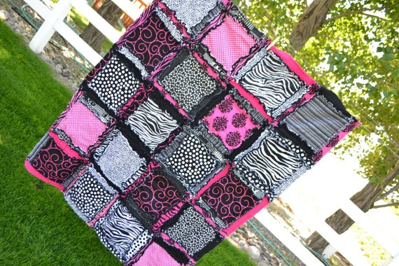 RAG QUILT, Toddler Bedding, Baby Blanket, Zebra, Pink, Ready to Ship Today