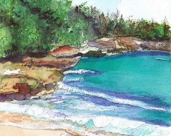 Kauai Seascape 5x7 Art Print Strolling Mahaulepu from Kauai Hawaii teal turquoise blue
