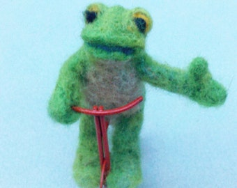 Custom Needle Felted Frog on Tricycle