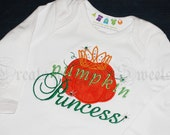 Halloween Pumpkin Princess Personalized White Bodysuit Toddler T Shirt