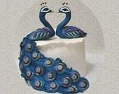 Peacock Peahen in Love - Custom Cake Topper