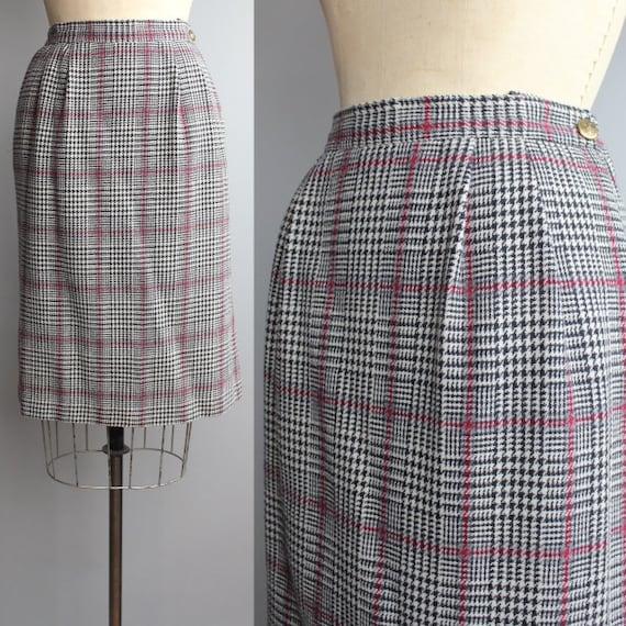 SALE   Classic Pencil Skirt   Vintage Plaid Skirt   Wool Houndstooth Skirt   M