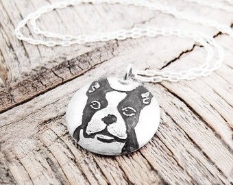 Boston Terrier necklace, Dog necklace, silver Boston Terrier jewelry
