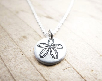 Tiny sand dollar necklace, silver sand dollar jewelry, ocean beach eco friendly pendant