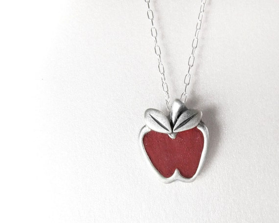 Red apple necklace - silver and concrete jewelry - teacher back to school apple pendant