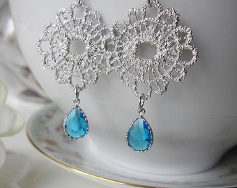 Blue Earrings, Silver Metal Lace Earrings, Silver Flower Design, Bohemian, Chandelier, Wedding Jewelry, Bridesmaid Earrings