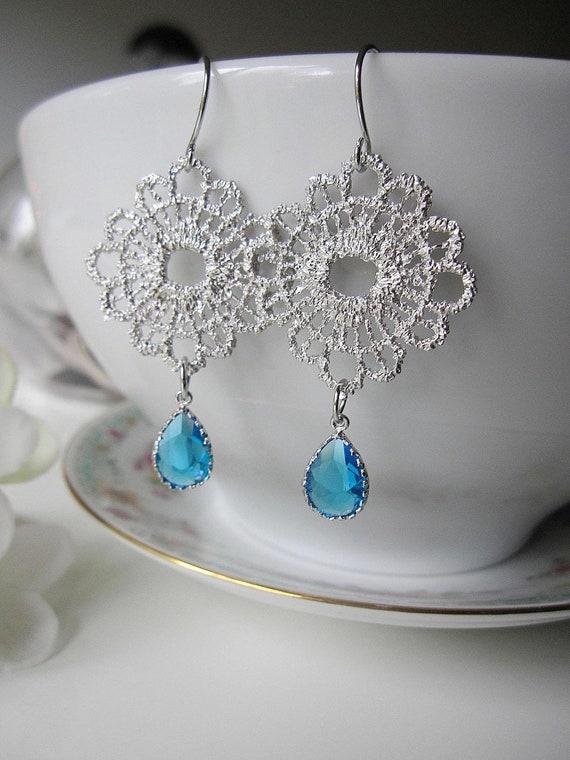 Caribbean Blue Earrings, Teal Glass Earrings, Silver Flower earrings, Bridal, Wedding, Bridesmaid Earrings