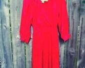 Vintage Dress - Shirt Dress - Silky - Red - Midi - Silky Paisley Jacquard Type Print - Long Sleeves