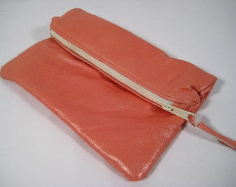 Super Soft leather zippered bag peachy pink