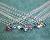 Sterling Tiny Birthstone Necklace - Silver Modern Bezel Birthstone Necklace