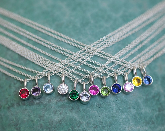 Birthstone Necklace - Sterling Silver Tiny Birthstone Necklace - Personalized Charms for Moms