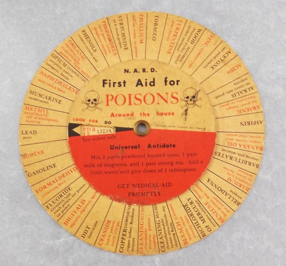 Vintage Spinner - First Aid for Poisons - National Association of Retail Druggists - Pharmacy Collectible