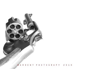 Smith and Wesson .38 Calibre Revolver Service Issue Weapon WWII Black and White Wall Art Roon Decor - Fine Art Gun Photography